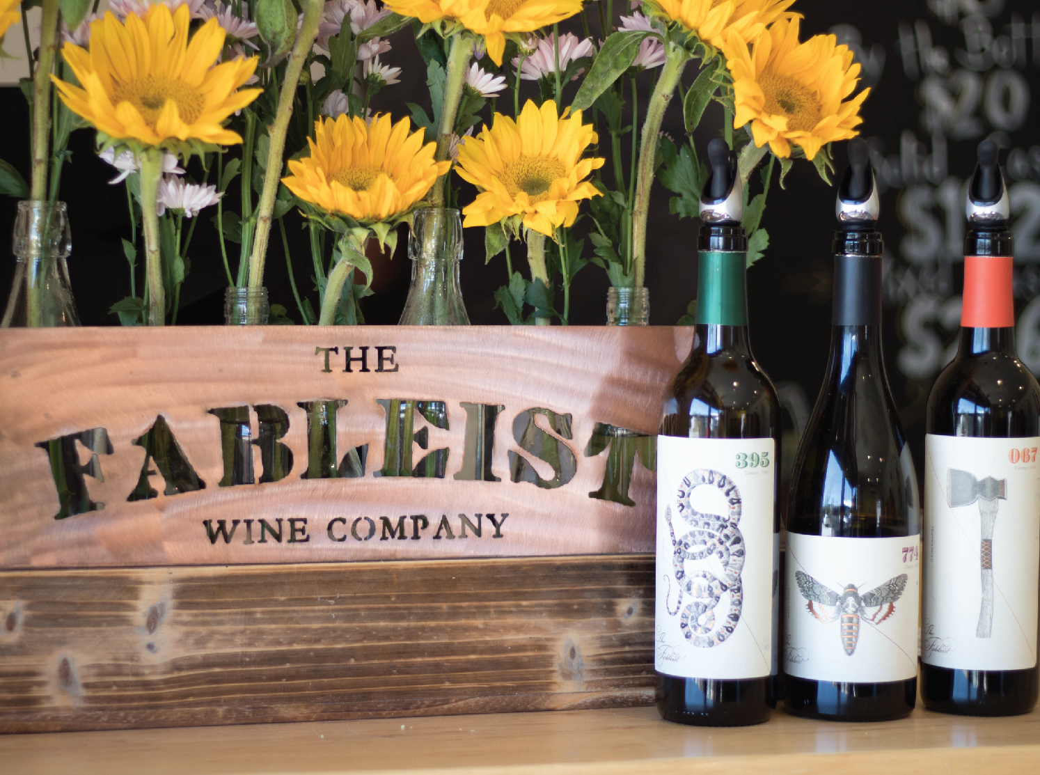Three The Fableist Wines displayed in the Paso Robles tasting room.